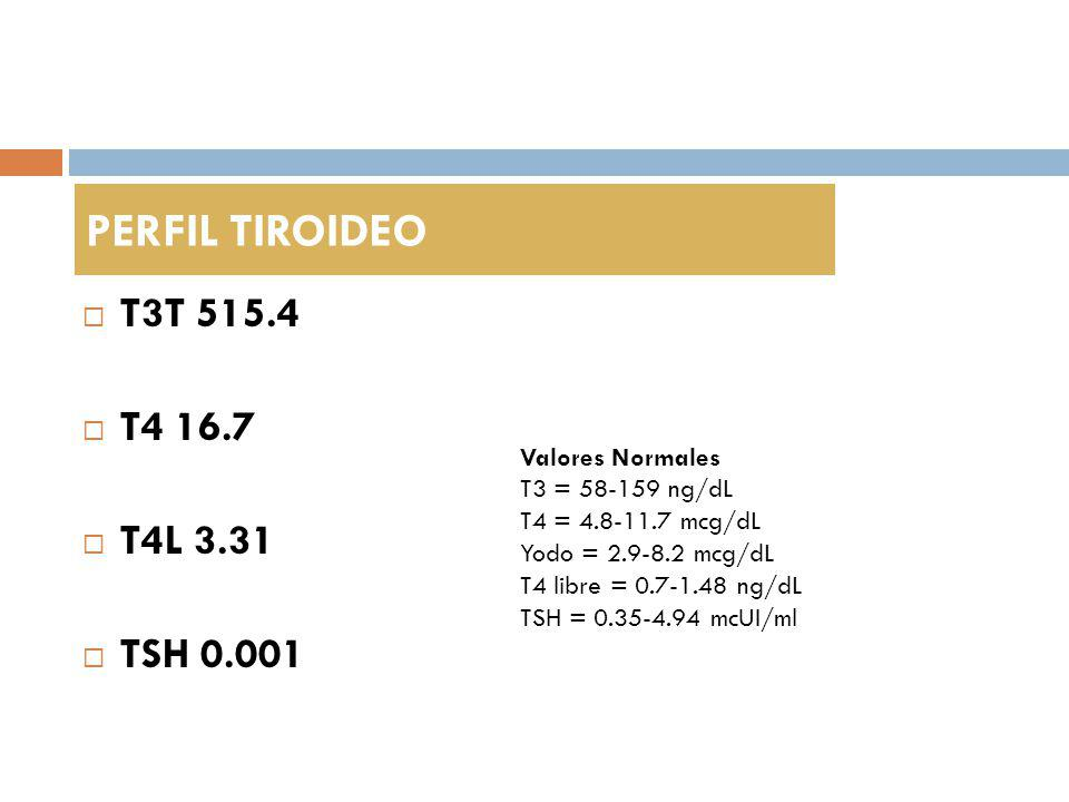 PERFIL TIROIDEO T3T 515.4 T4 16.7 T4L 3.31 TSH 0.001 Valores Normales