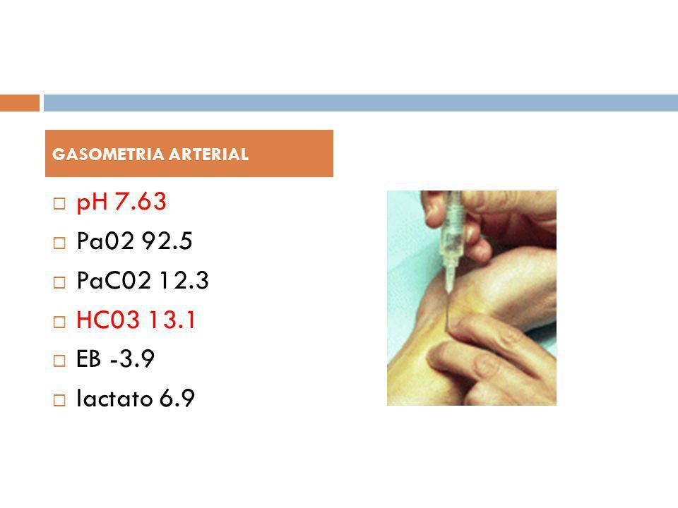 GASOMETRIA ARTERIAL pH 7.63 Pa02 92.5 PaC02 12.3 HC03 13.1 EB -3.9 lactato 6.9