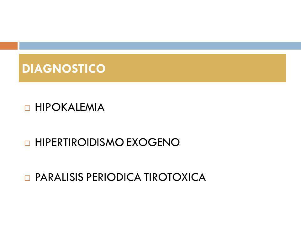 DIAGNOSTICO HIPOKALEMIA HIPERTIROIDISMO EXOGENO