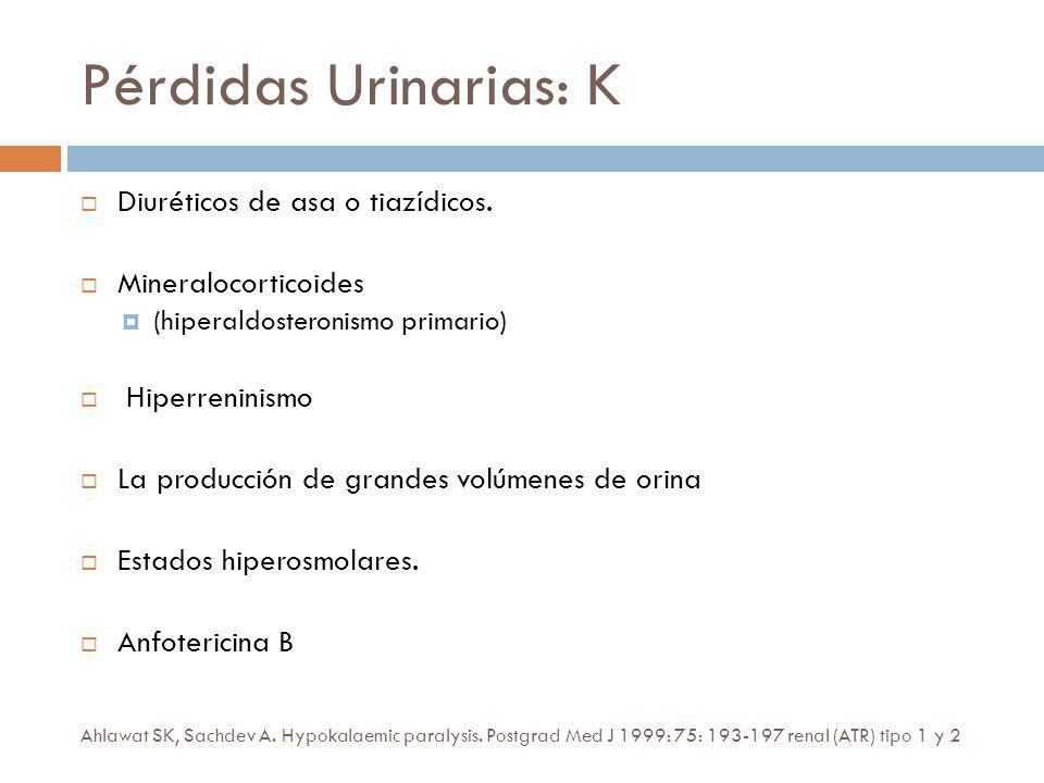 Pérdidas Urinarias: K Diuréticos de asa o tiazídicos.