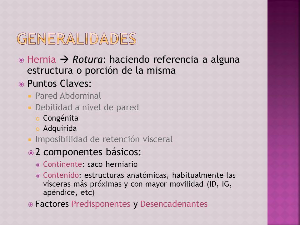 Generalidades Hernia  Rotura: haciendo referencia a alguna estructura o porción de la misma. Puntos Claves: