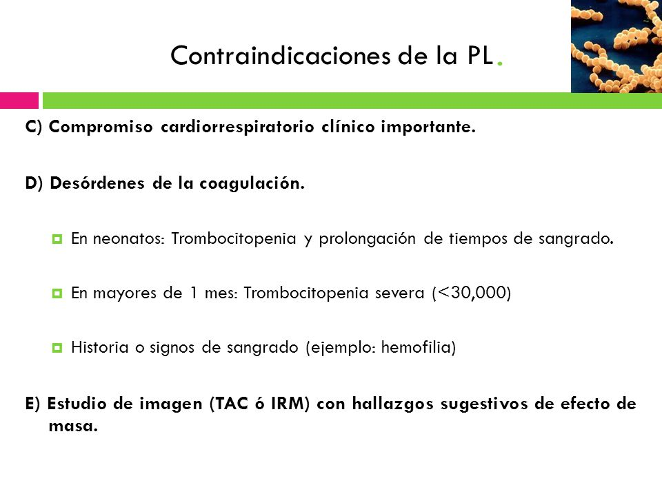 Contraindicaciones de la PL.