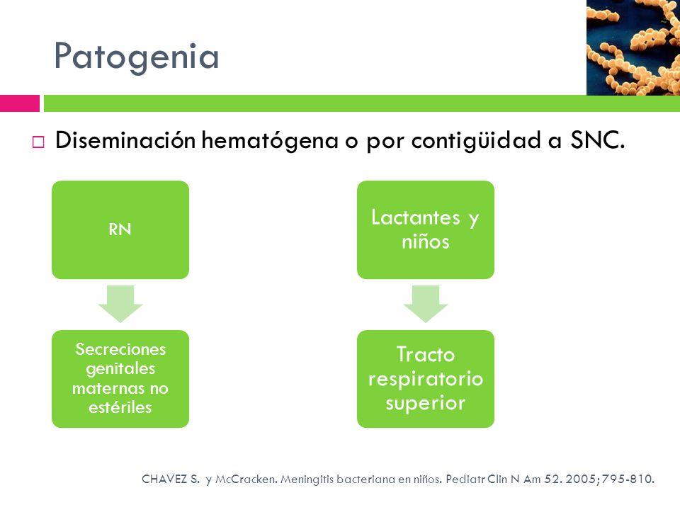 Patogenia Diseminación hematógena o por contigüidad a SNC.