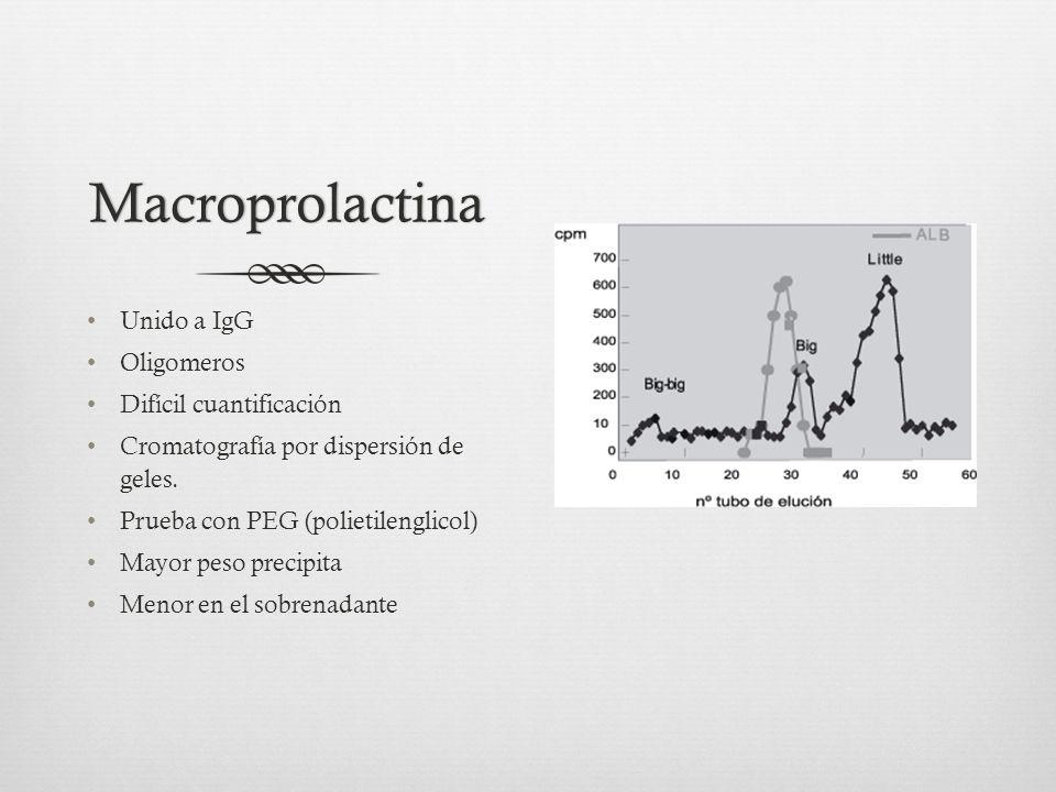 Macroprolactina Unido a IgG Oligomeros Difícil cuantificación