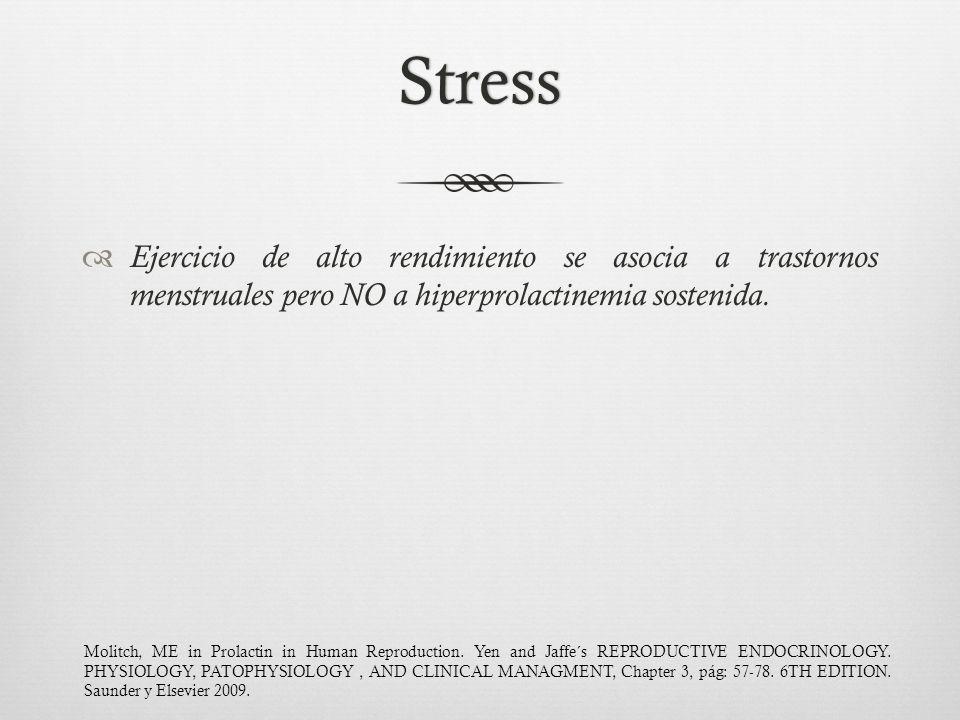 Stress Ejercicio de alto rendimiento se asocia a trastornos menstruales pero NO a hiperprolactinemia sostenida.
