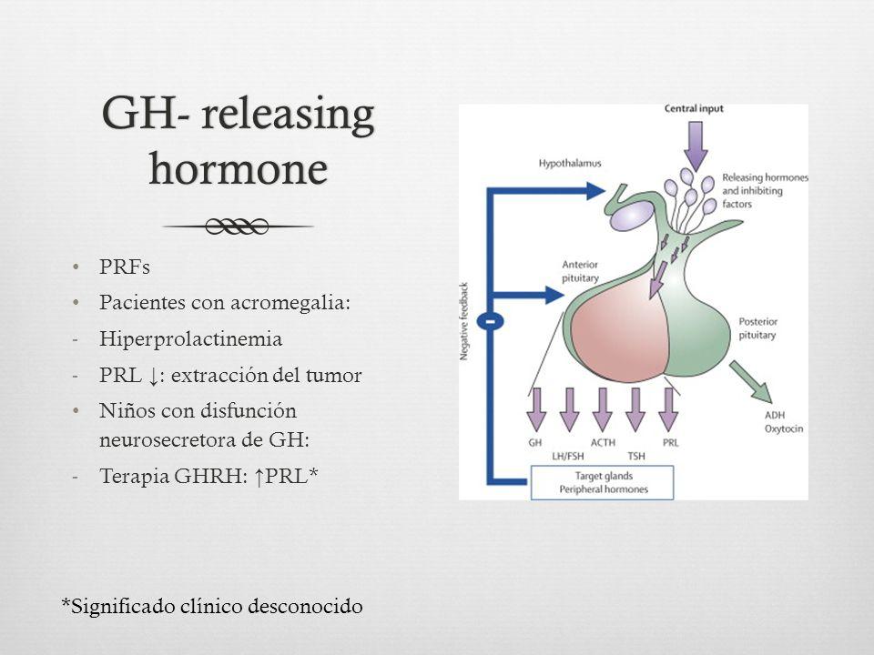 GH- releasing hormone PRFs Pacientes con acromegalia: