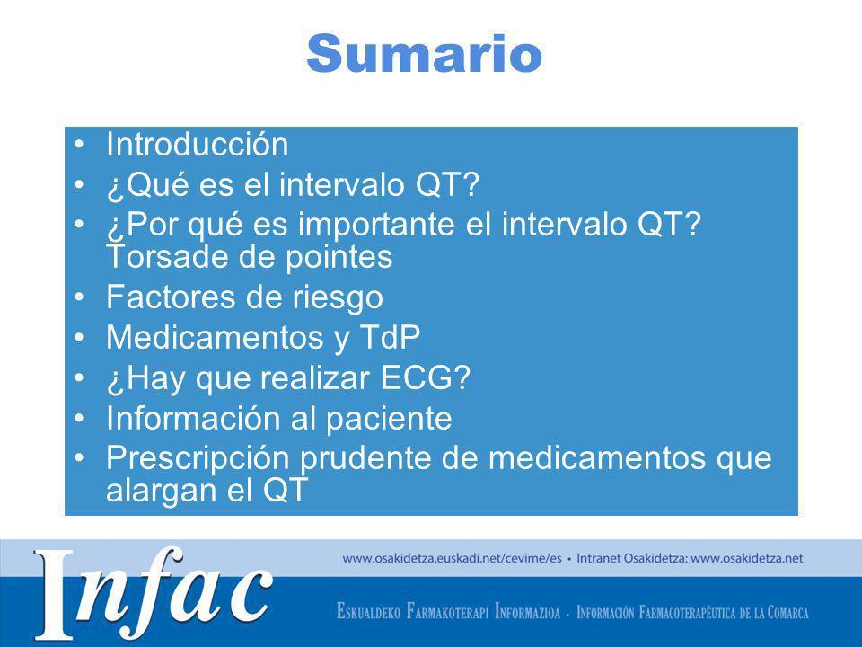 Sumario Introducción ¿Qué es el intervalo QT