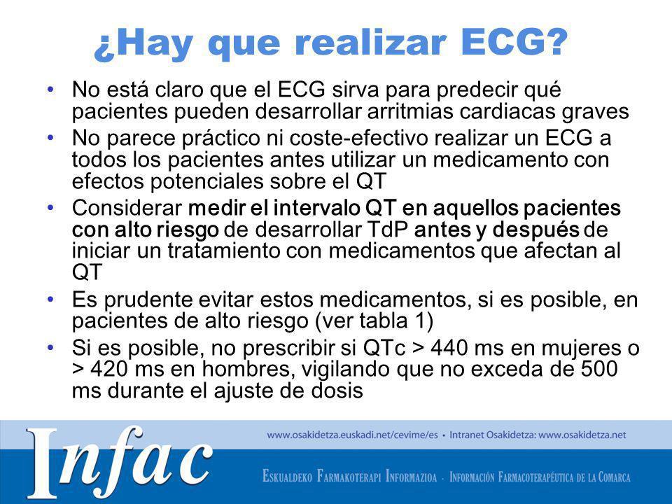 ¿Hay que realizar ECG No está claro que el ECG sirva para predecir qué pacientes pueden desarrollar arritmias cardiacas graves.