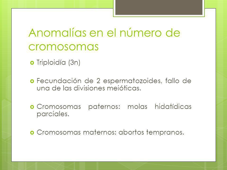Anomalías en el número de cromosomas