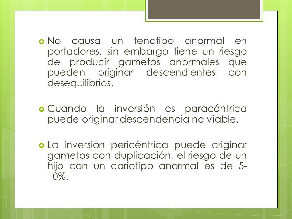 No causa un fenotipo anormal en portadores, sin embargo tiene un riesgo de producir gametos anormales que pueden originar descendientes con desequilibrios.