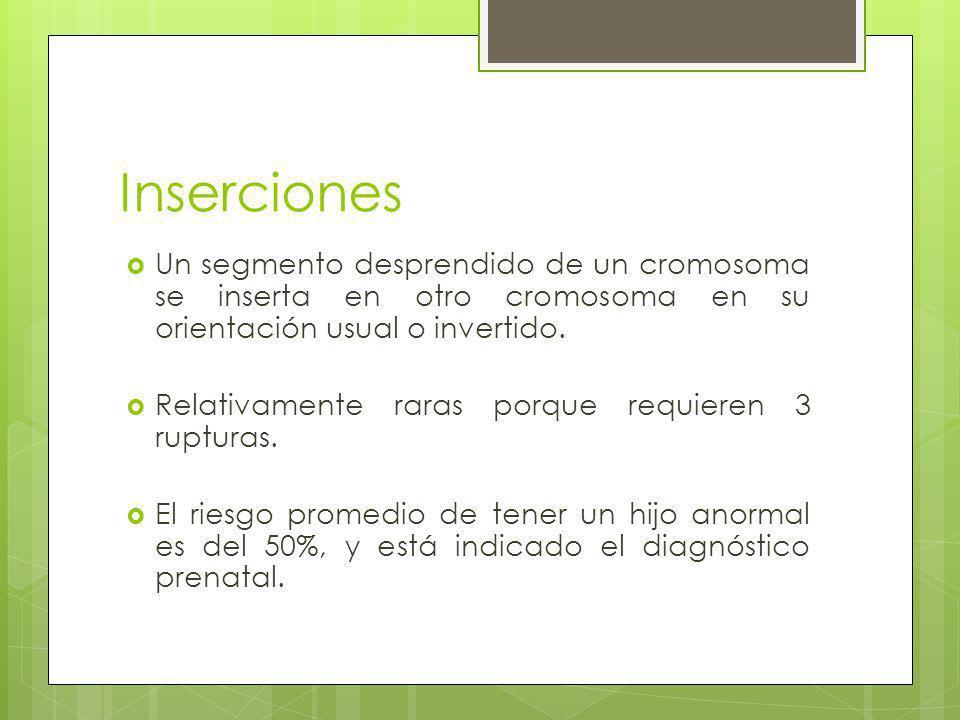 Inserciones Un segmento desprendido de un cromosoma se inserta en otro cromosoma en su orientación usual o invertido.