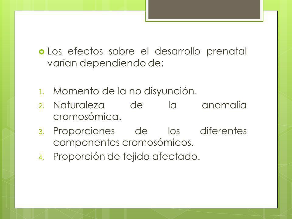 Los efectos sobre el desarrollo prenatal varían dependiendo de: