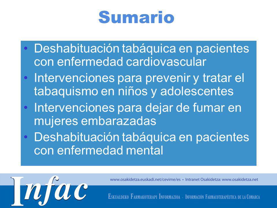 Sumario Deshabituación tabáquica en pacientes con enfermedad cardiovascular.