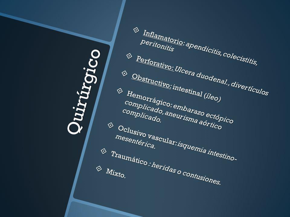 Quirúrgico Inflamatorio: apendicitis, colecistitis, peritonitis