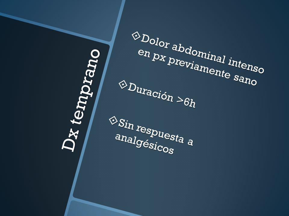 Dx temprano Dolor abdominal intenso en px previamente sano