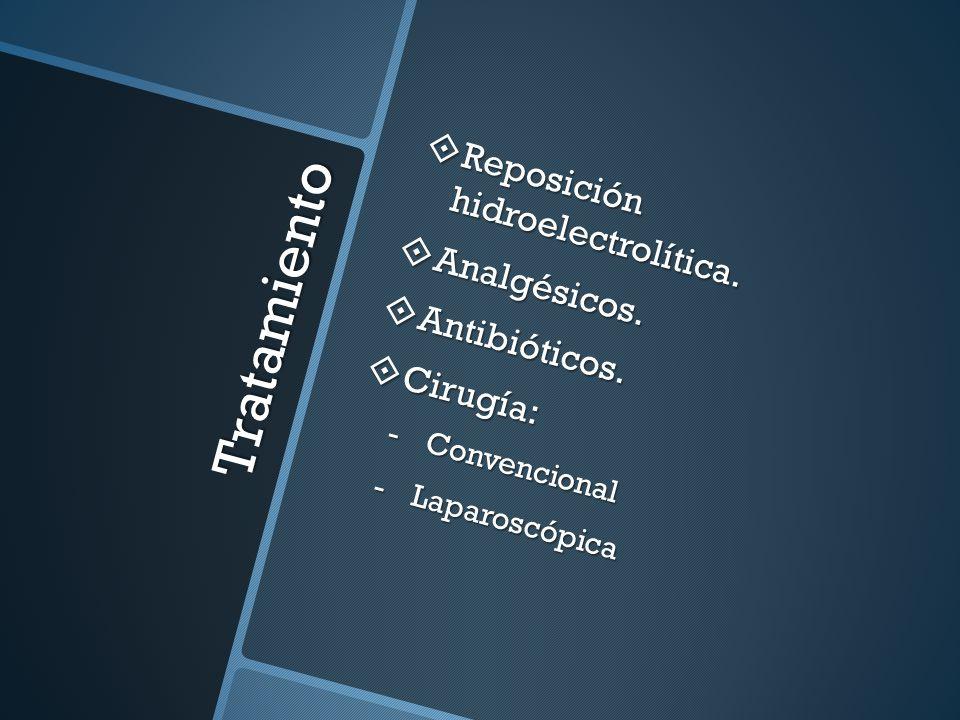 Tratamiento Reposición hidroelectrolítica. Analgésicos. Antibióticos.