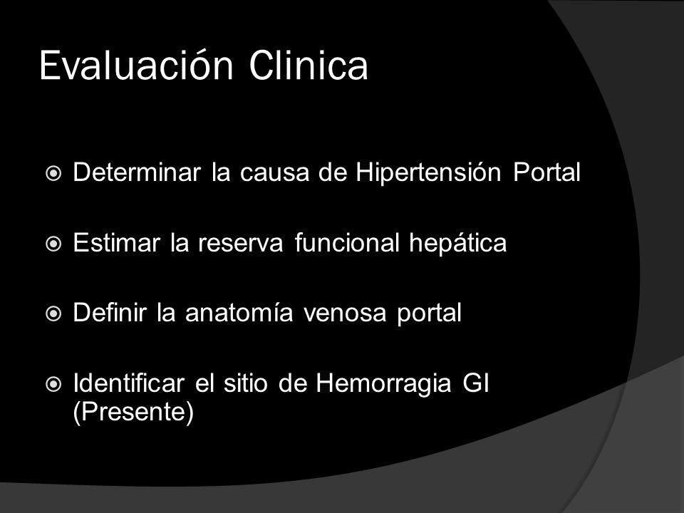 Evaluación Clinica Determinar la causa de Hipertensión Portal