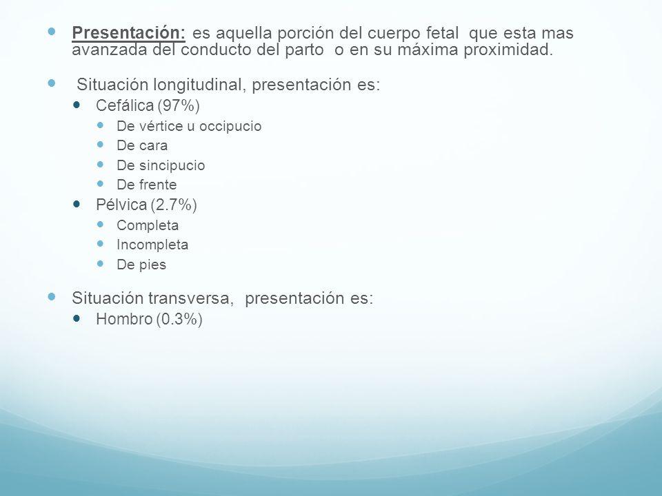 Situación longitudinal, presentación es: