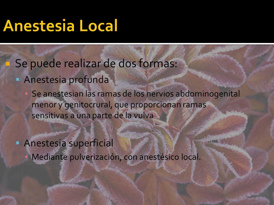 Anestesia Local Se puede realizar de dos formas: Anestesia profunda