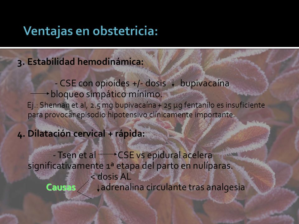 Ventajas en obstetricia: