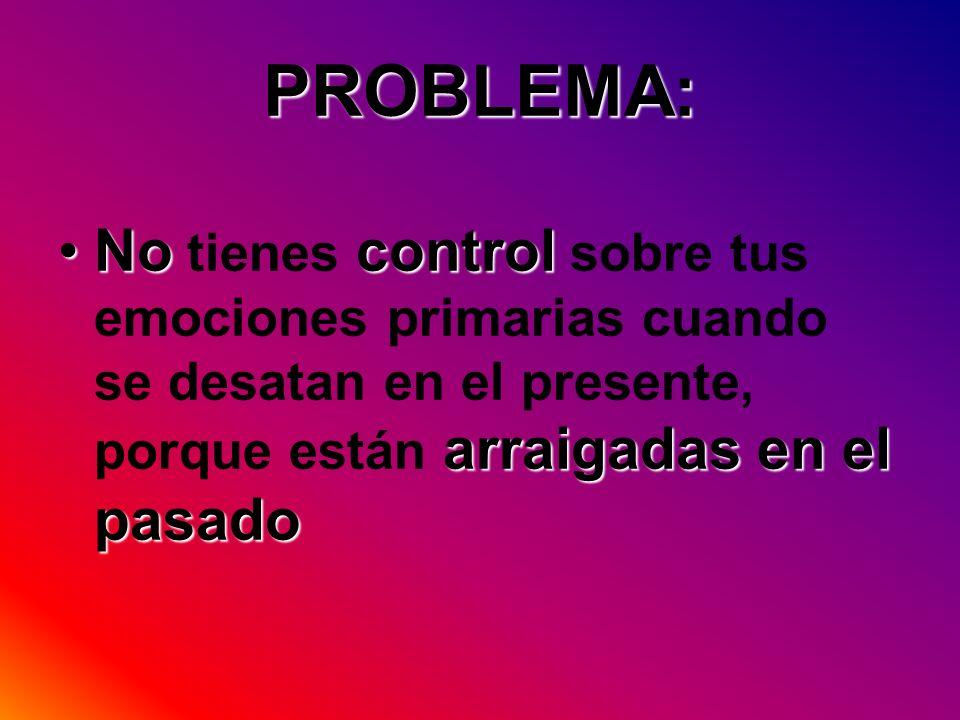 PROBLEMA:No tienes control sobre tus emociones primarias cuando se desatan en el presente, porque están arraigadas en el pasado.