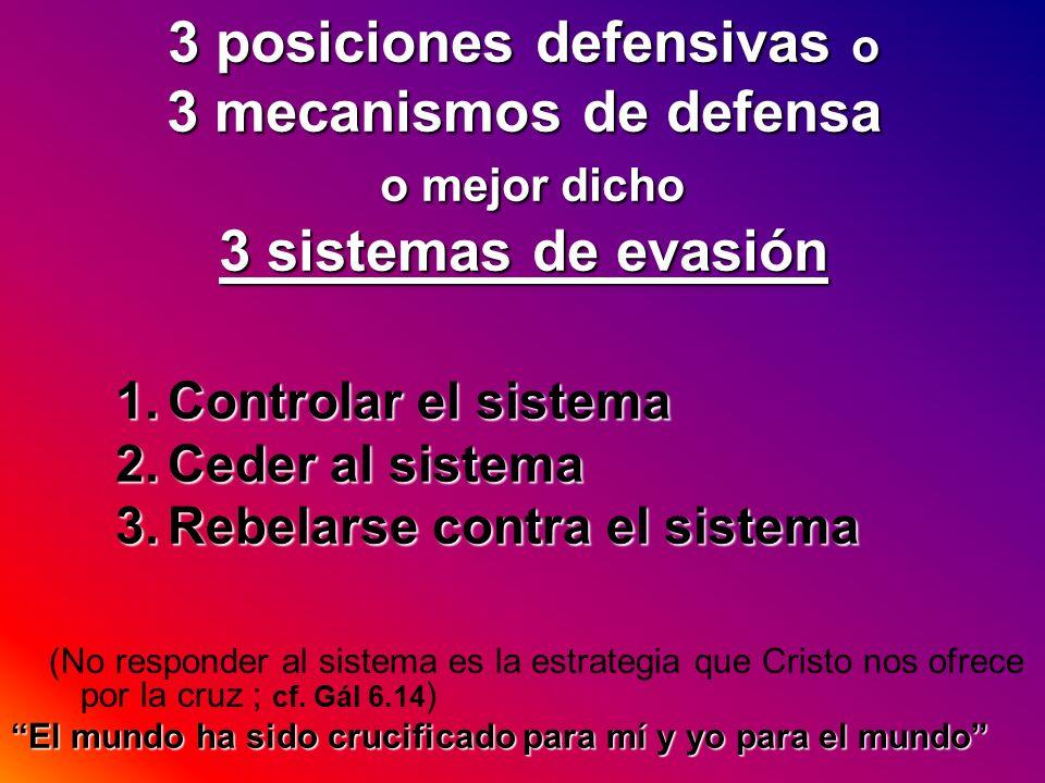 3 posiciones defensivas o 3 mecanismos de defensa o mejor dicho 3 sistemas de evasión
