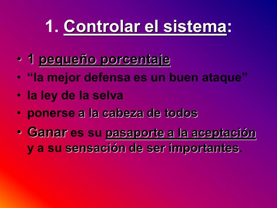 1. Controlar el sistema: 1 pequeño porcentaje
