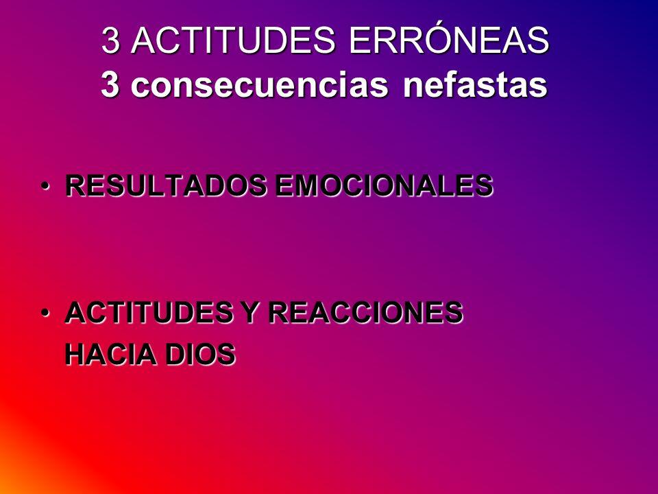 3 ACTITUDES ERRÓNEAS 3 consecuencias nefastas