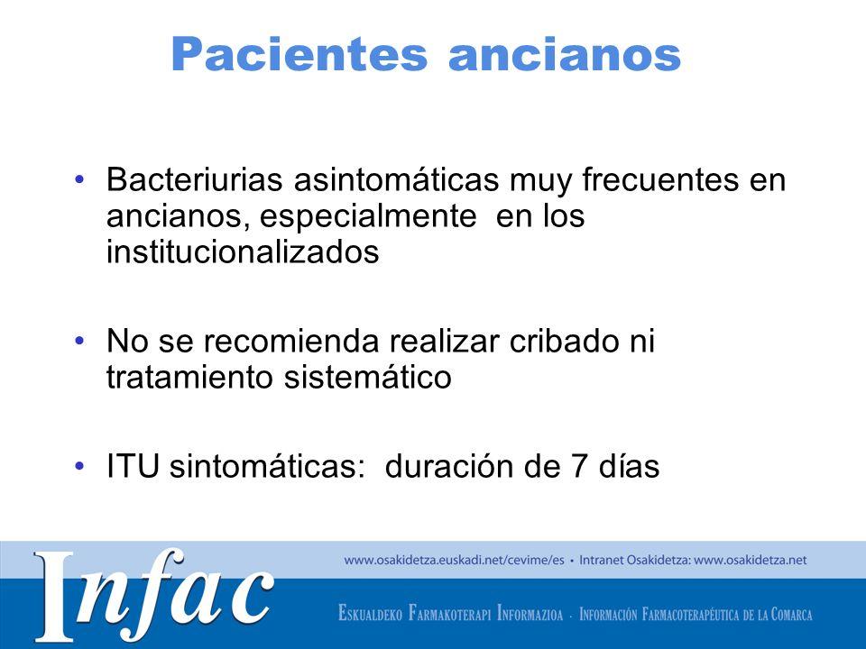 Pacientes ancianos Bacteriurias asintomáticas muy frecuentes en ancianos, especialmente en los institucionalizados.