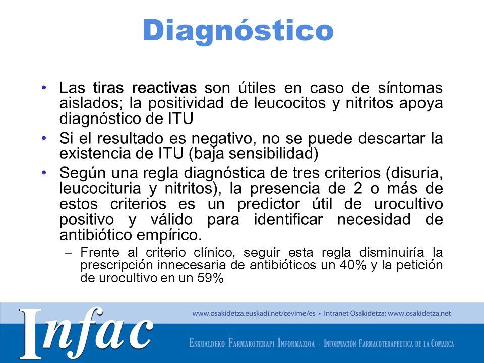 Diagnóstico Las tiras reactivas son útiles en caso de síntomas aislados; la positividad de leucocitos y nitritos apoya diagnóstico de ITU.