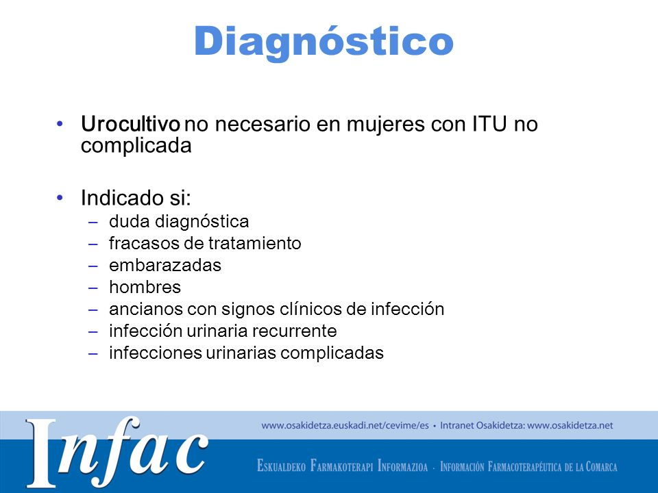 Diagnóstico Urocultivo no necesario en mujeres con ITU no complicada