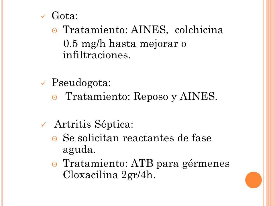 Gota: Tratamiento: AINES, colchicina. 0.5 mg/h hasta mejorar o infiltraciones. Pseudogota: Tratamiento: Reposo y AINES.