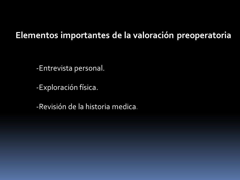 Elementos importantes de la valoración preoperatoria