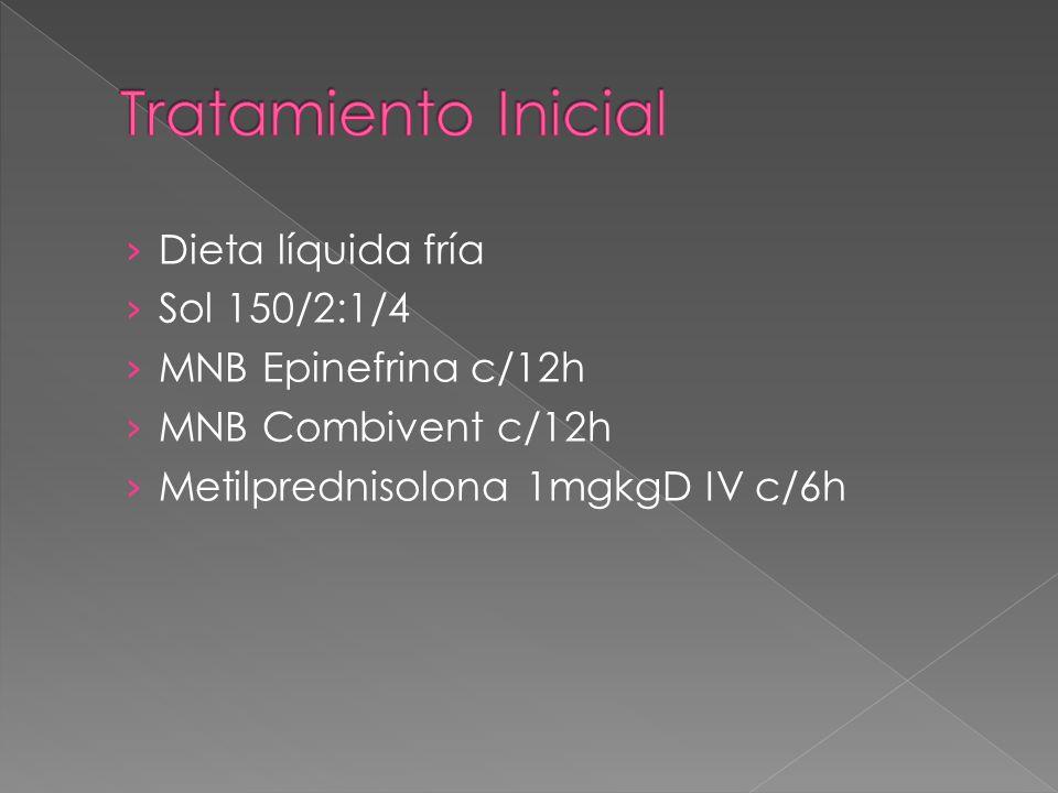 Tratamiento Inicial Dieta líquida fría Sol 150/2:1/4