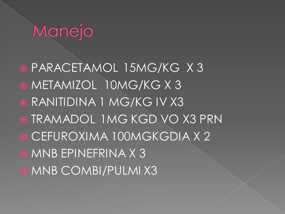 Manejo PARACETAMOL 15MG/KG X 3 METAMIZOL 10MG/KG X 3