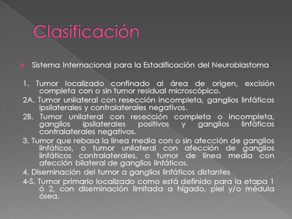 Clasificación Sistema Internacional para la Estadificación del Neuroblastoma.