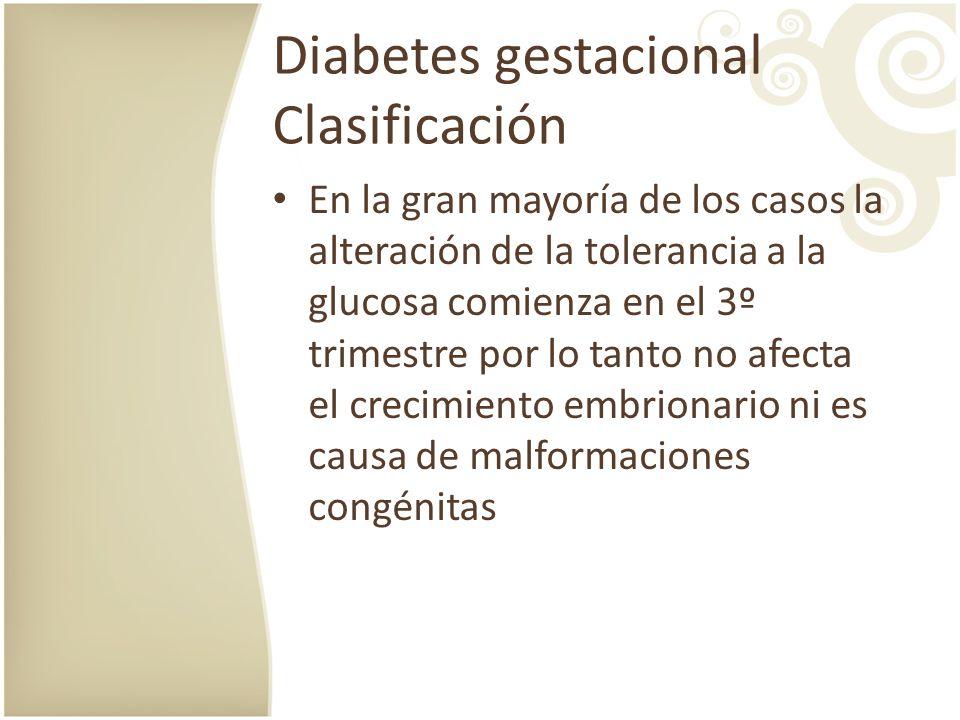 Diabetes gestacional Clasificación