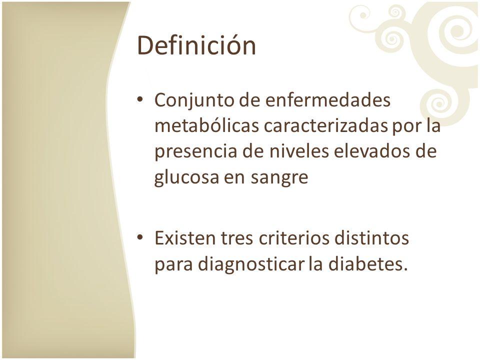 Definición Conjunto de enfermedades metabólicas caracterizadas por la presencia de niveles elevados de glucosa en sangre.