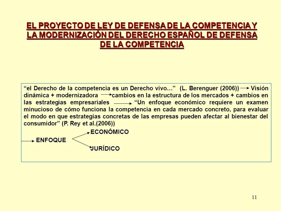 EL PROYECTO DE LEY DE DEFENSA DE LA COMPETENCIA Y LA MODERNIZACIÓN DEL DERECHO ESPAÑOL DE DEFENSA DE LA COMPETENCIA