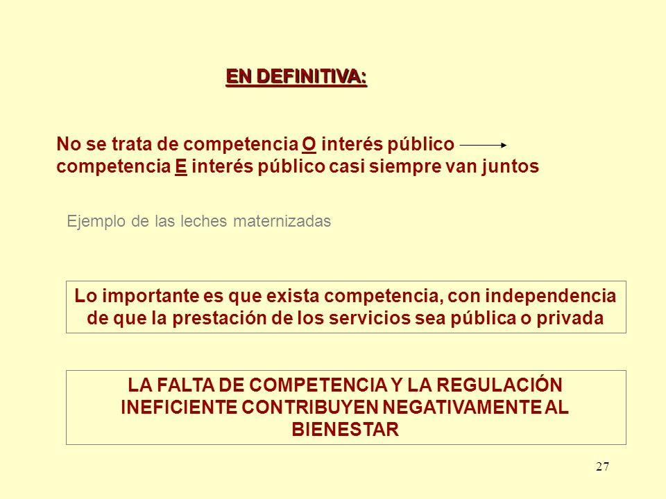 EN DEFINITIVA: No se trata de competencia O interés público competencia E interés público casi siempre van juntos.