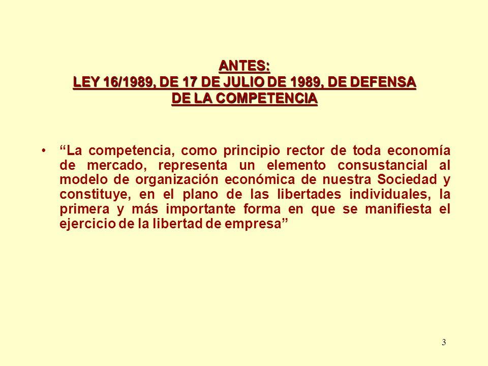 ANTES: LEY 16/1989, DE 17 DE JULIO DE 1989, DE DEFENSA DE LA COMPETENCIA