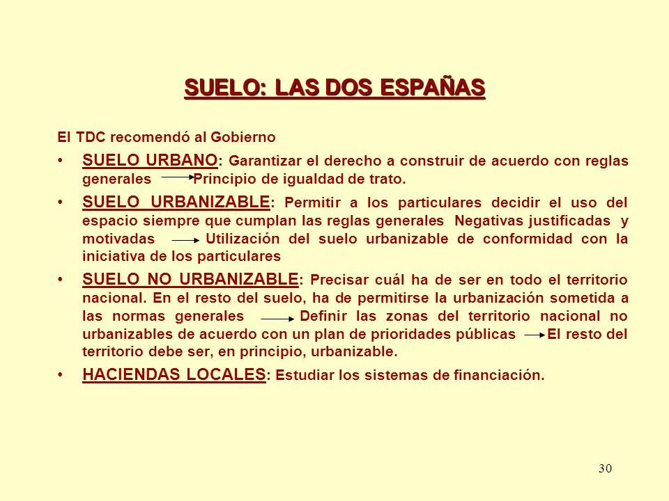 SUELO: LAS DOS ESPAÑAS El TDC recomendó al Gobierno.