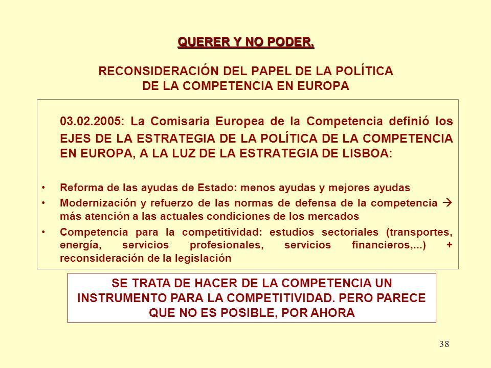 QUERER Y NO PODER. RECONSIDERACIÓN DEL PAPEL DE LA POLÍTICA DE LA COMPETENCIA EN EUROPA
