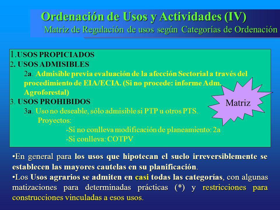 Ordenación de Usos y Actividades (IV)