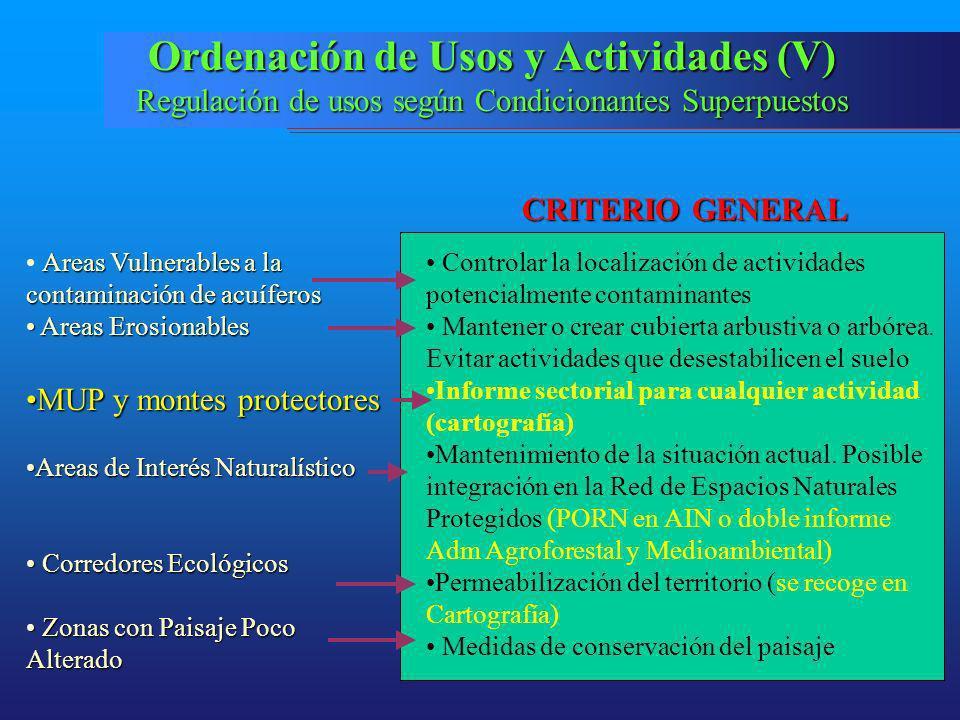 Ordenación de Usos y Actividades (V)