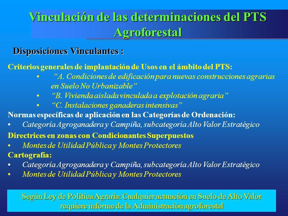 Vinculación de las determinaciones del PTS Agroforestal