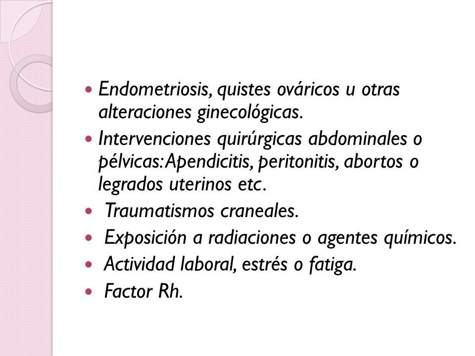 Endometriosis, quistes ováricos u otras alteraciones ginecológicas.