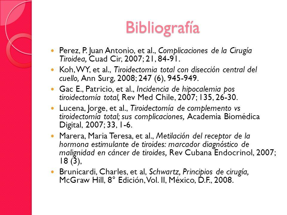 Bibliografía Perez, P. Juan Antonio, et al., Complicaciones de la Cirugía Tiroidea, Cuad Cir, 2007; 21, 84-91.