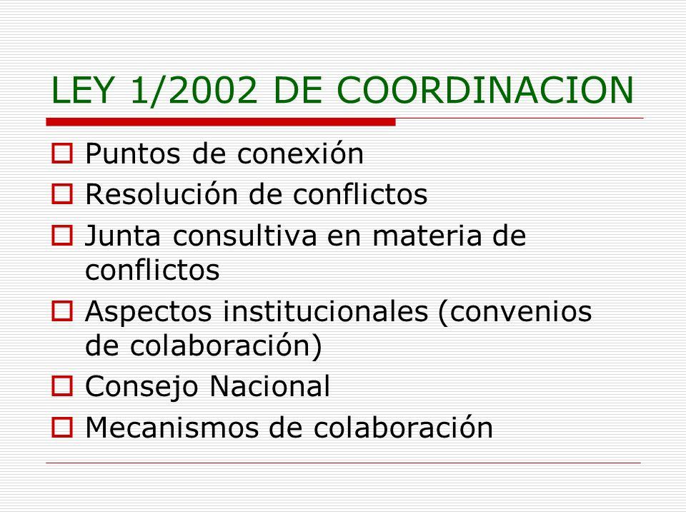 LEY 1/2002 DE COORDINACION Puntos de conexión Resolución de conflictos