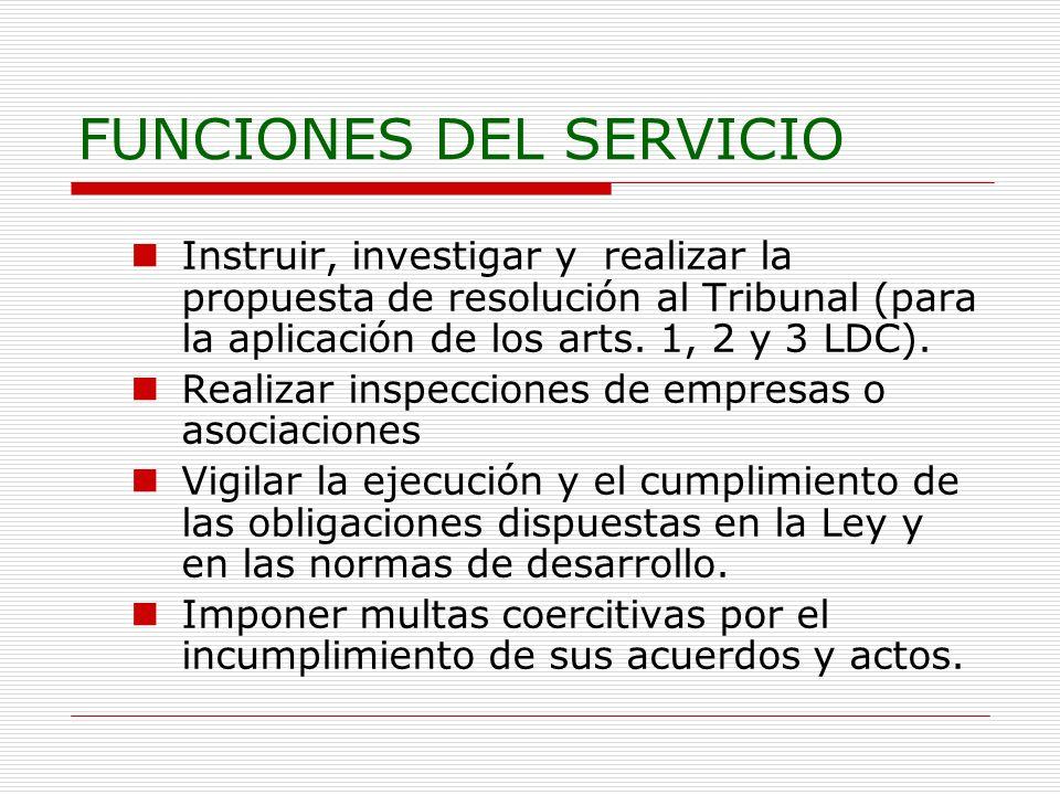 FUNCIONES DEL SERVICIO